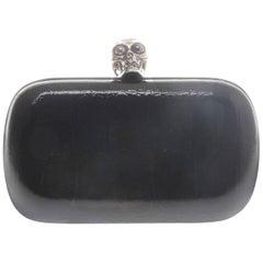Alexander McQueen Black Patent Skull Box Clutch