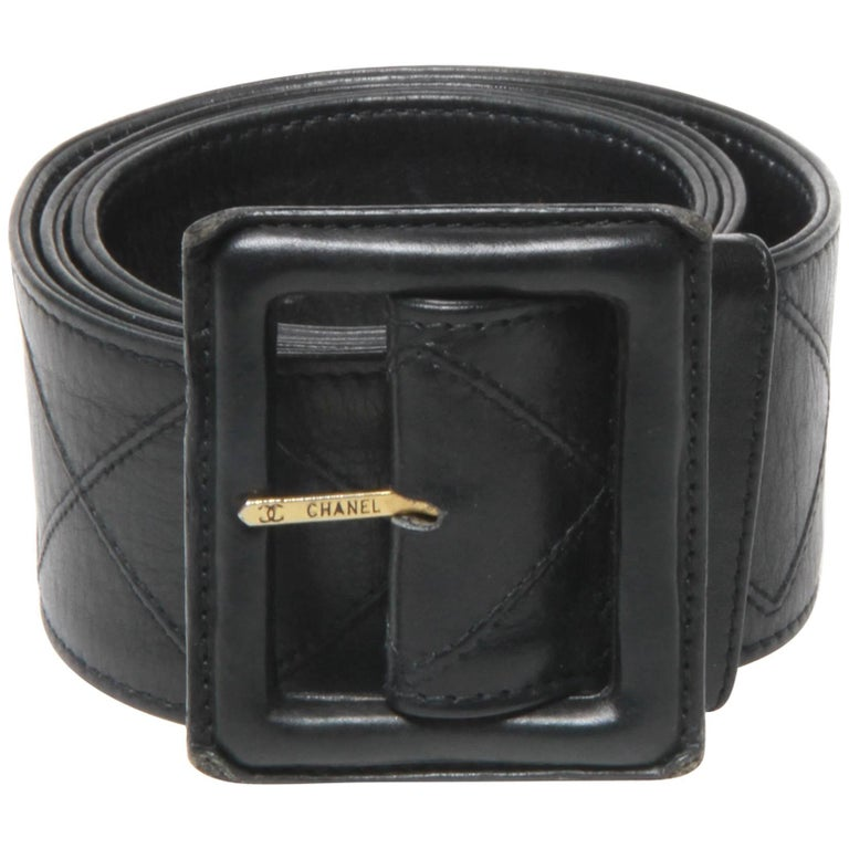 Chanel black leather belt