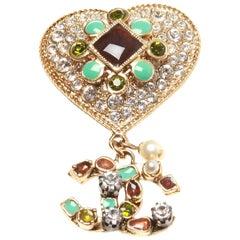 Chanel Spring 06 Iconic CC Logo Heart Rhinestone Brooch
