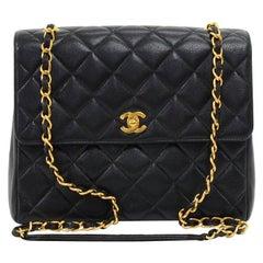 Chanel Vintage 10.5 Inch Flap Black Quilted Caviar Leather Shoulder Bag
