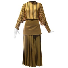 1980s Gianni Versace 2-Piece Ensemble of Palazzo Pants & Dolman Striped Blouse