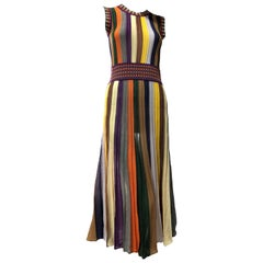 Missoni Multi-Color Tapered Stripe Rib-Knit Rayon Day Dress W/ Banded Details