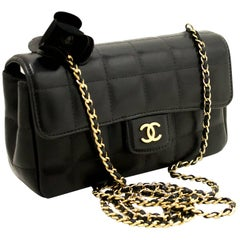 Chanel Camellia Black Quilted Chocolate Bar Chain Shoulder Bag