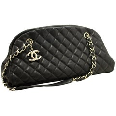 Chanel Caviar Bowling Chain Black Quilted Leather SV Shoulder Bag