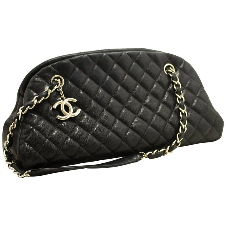 568a3a23a5bf85 Chanel Caviar Bowling Chain Black Quilted Leather SV Shoulder Bag For Sale