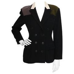 A 1980s Vintage Yohji Yamamoto Wool Blazer with Contrast Panels XS