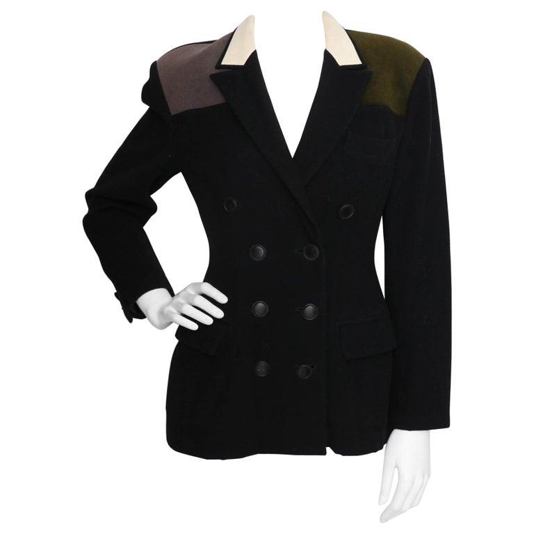 A 1980s Vintage Yohji Yamamoto Wool Blazer with Contrast Panels XS For Sale
