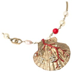 Chanel Coral Gold Pearl Shell Necklace