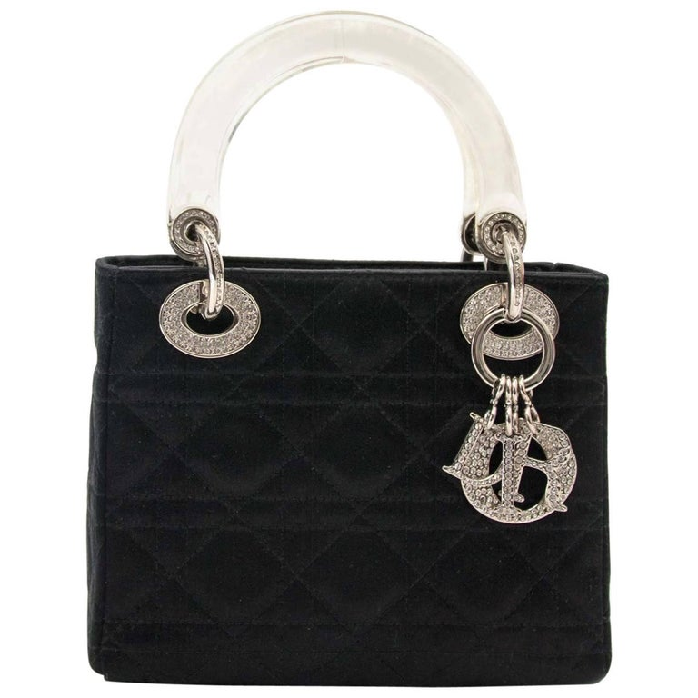 Dior Lady Dior Mini Black Satin bag With Crystals