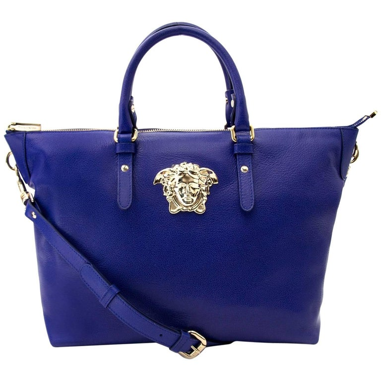 Versace Indigo Medusa Leather Bag
