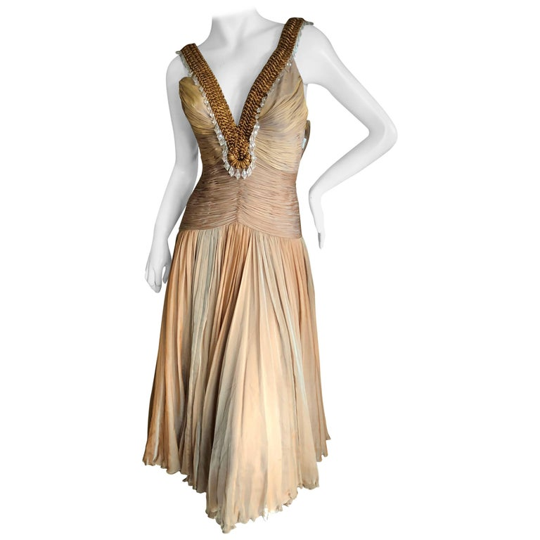 Versace Vintage Low Cut Plisse Pleated Ombre Silk Dress with Macrame Bead Detail