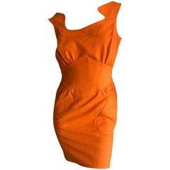 Thierry Mugler Mod Vintage 80's Tangerine Pique Cotton Mini Dress