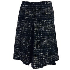 Chanel Black and White Wool Blend Tweed Culotte Skirt