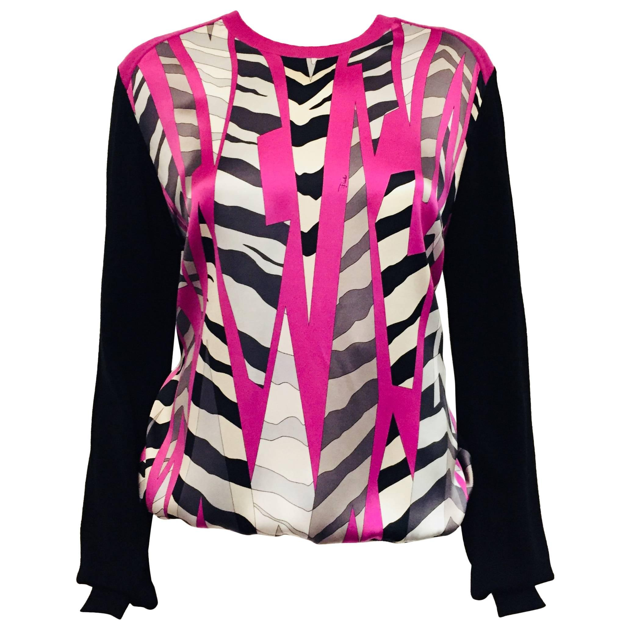 Exceptional emilio pucci abstract animal print black white and shocking pink top for sale at 1stdibs