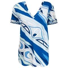 Perfect Emilio Pucci Blue & White Cotton Short Sleeve Top