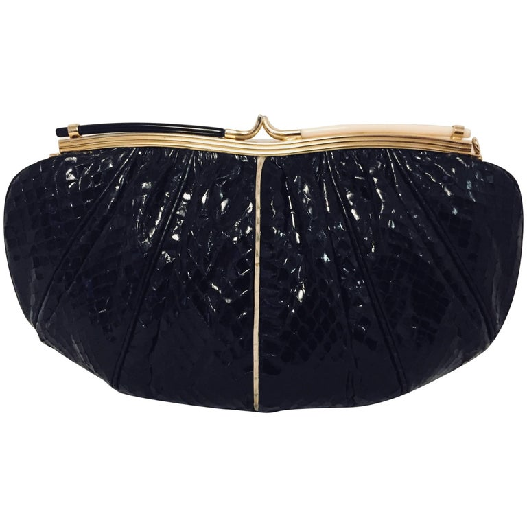 Vintage Judith Leiber Black Gathered Python Convertible Clutch