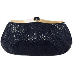 Judith Leiber Vintage Navy Gathered Python Convertible Clutch