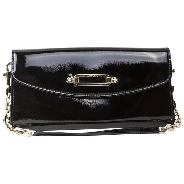 JIMMY CHOO Clutch Bag in Black Patent Leather