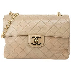 Chanel Soft Beige Leather Lambskin Single Flap Jumbo Bag, 1990s