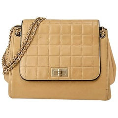 Chanel early 2000 Chocolate Bar Beige and Black Shoulder Bag