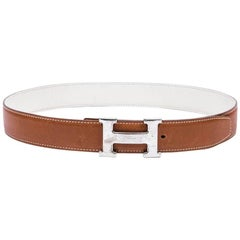 HERMES H Reversible Belt in Togo Gold and White Leather Size 80FR