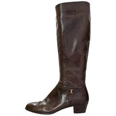 Salvatore Ferragamo Brown Leather Boots Sz 8.5