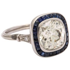 Cushion Cut 2.60 ct Diamond and Natural Sapphire Vintage Engagement Ring