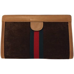 Gucci Parfums Vintage Brown Suede Clutch With Signature Web