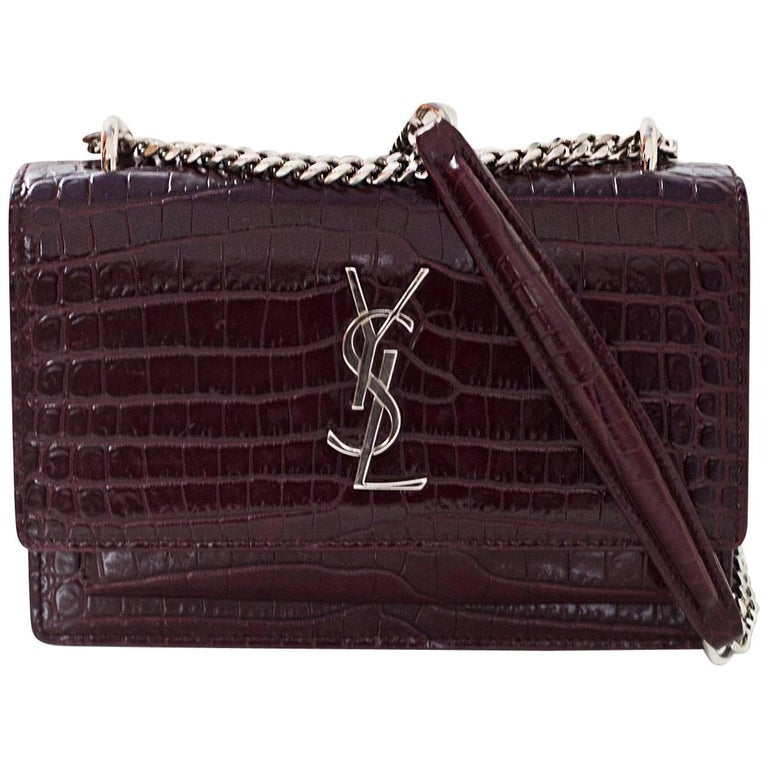 ab457247d308 Saint Laurent Burgundy Embossed Croc Sunset Mini Chain Wallet Crossbody Bag  For Sale