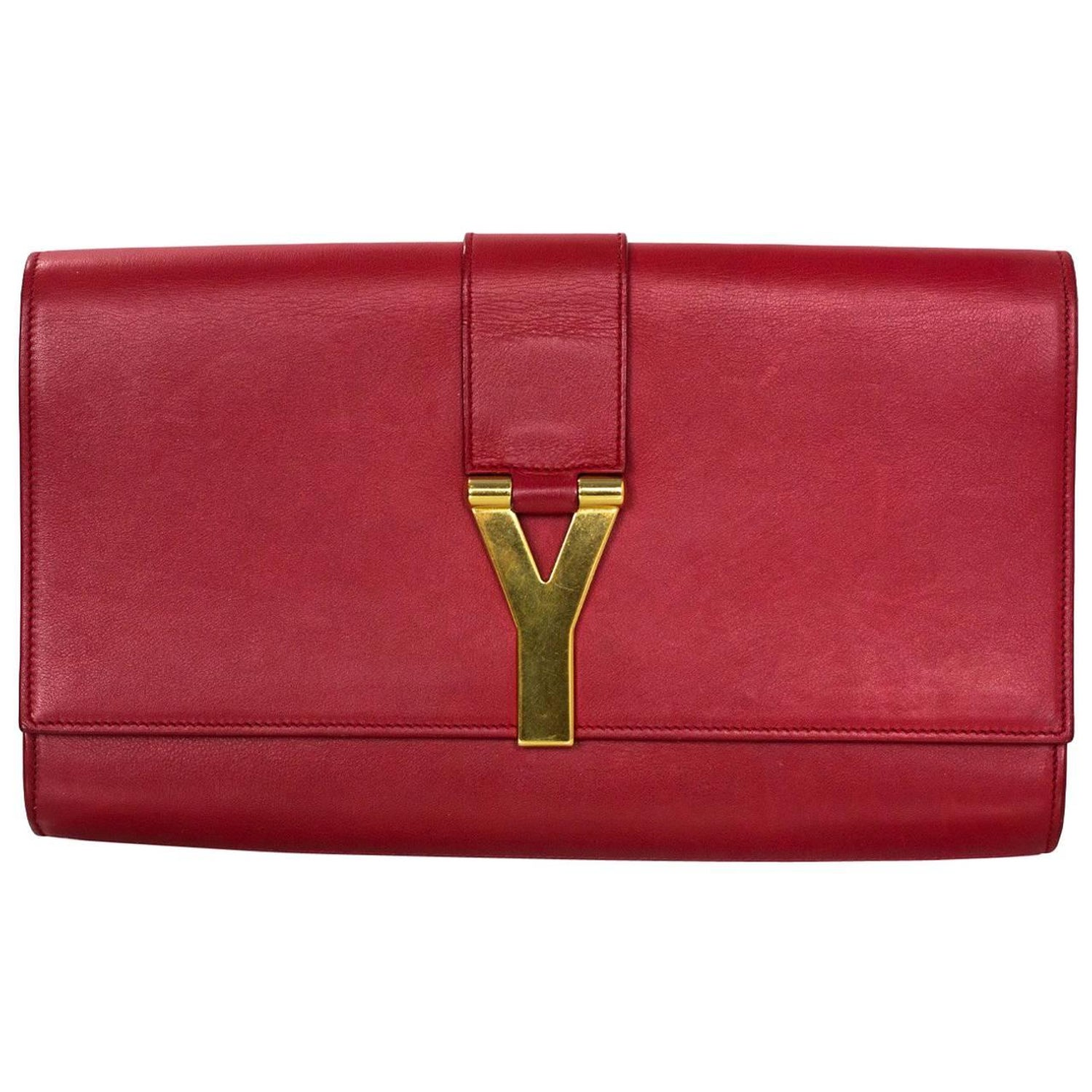 Saint Laurent Red Leather Cabas ChYc Clutch Bag For Sale at 1stdibs bffa1adc88420