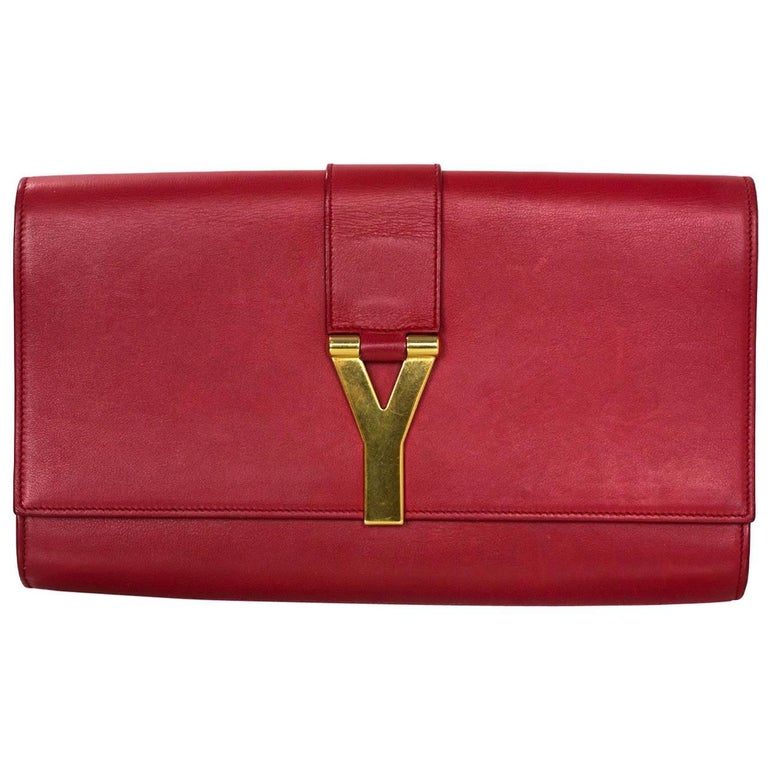 Saint Laurent Red Leather Cabas ChYc Clutch Bag