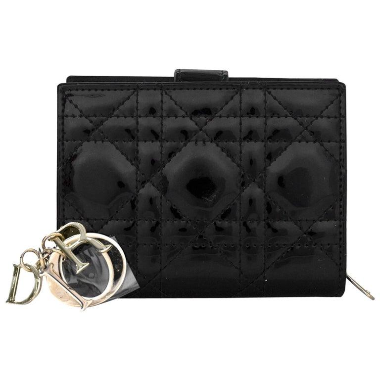 b9fed40e0b2 Christian Dior Black Patent lLeather Cannage Lady Dior Wallet NWT