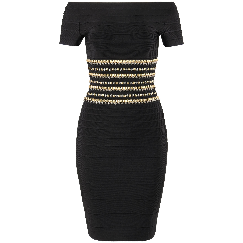 "HERVE LEGER c2014 ""Carmen"" Black Bandage Knit Studded Bodycon Cocktail Dress NWT"