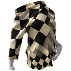 1980s Gianni Versace Black and White Checkered Off-The-Shoulder Silk Blouse