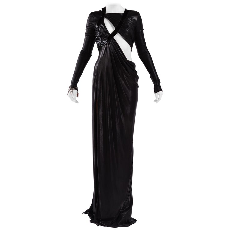 versace look 51 cut out black liquid jersey gown f w