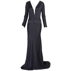 New Tom Ford for Gucci F/W 2002 Black Silk Gown with Leather Tie It. 44