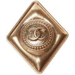 Chanel Matte Gold-tone Diamond Brooch