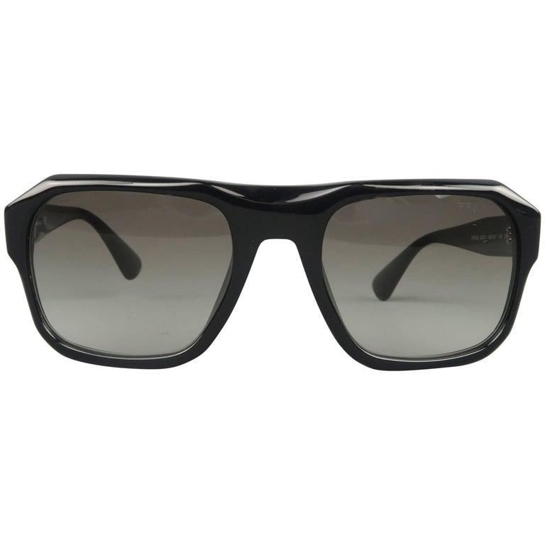 PRADA Sunglasses - Black Acetate SPR 02S Flat Top SPRING
