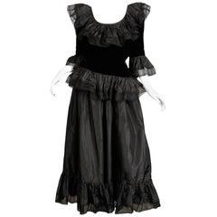 Unworn with Tags 1970s Oscar de la Renta Vintage Black Silk Top + Skirt Dress