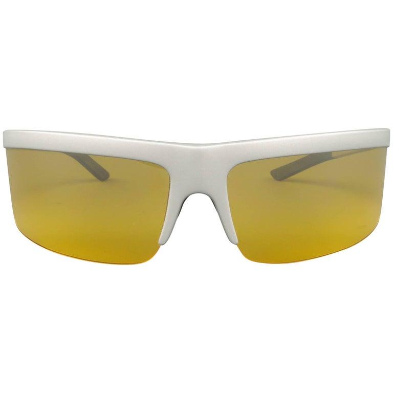 PRADA Sunglasses Metallic Silver Acetate Yellow Lens Active Ski Sport SPRING