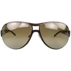 SALVATORE FERRAGAMO Copper Acetate & Metal Aviator Sunglasses