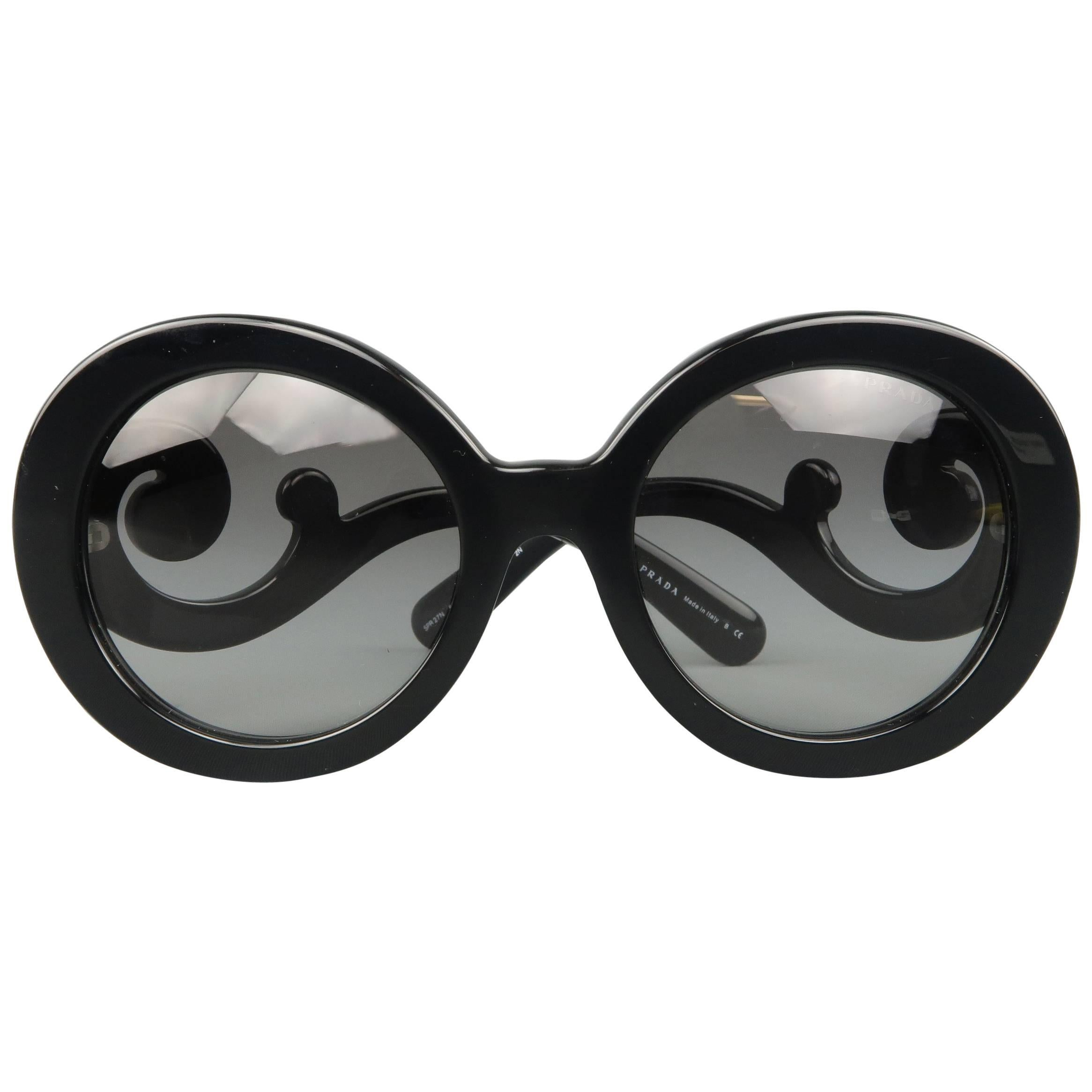 e2bbcac22160 ... norway prada black round lens baroque swirl arm sunglasses 02aac dfd9e