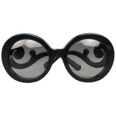 Prada Black Round Lens Baroque Swirl Arm Sunglasses