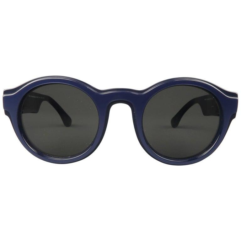 MAISON MARTIN MARGIELA + MYKITA Navy Metallic Round MMDUAL001 Sunglasses