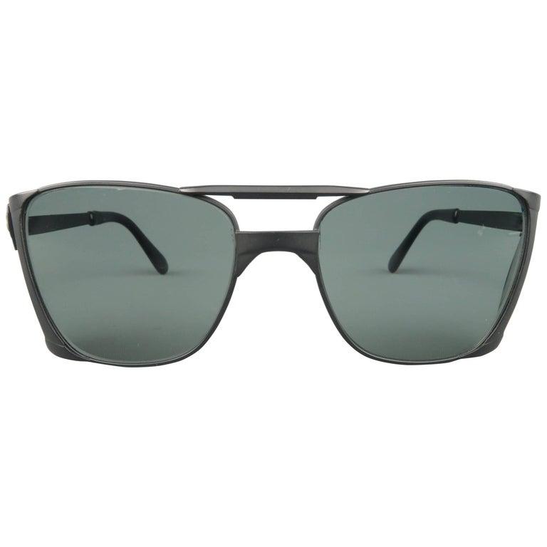 eea1a7d221a77 PERSOL Black Metal RATTI 009 VIP Side Sheild Sunglasses at 1stdibs