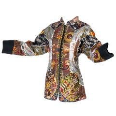 Hermes Jacket in Les Mythologies des Hommes Rouges Scarf Print Reversible Coat M