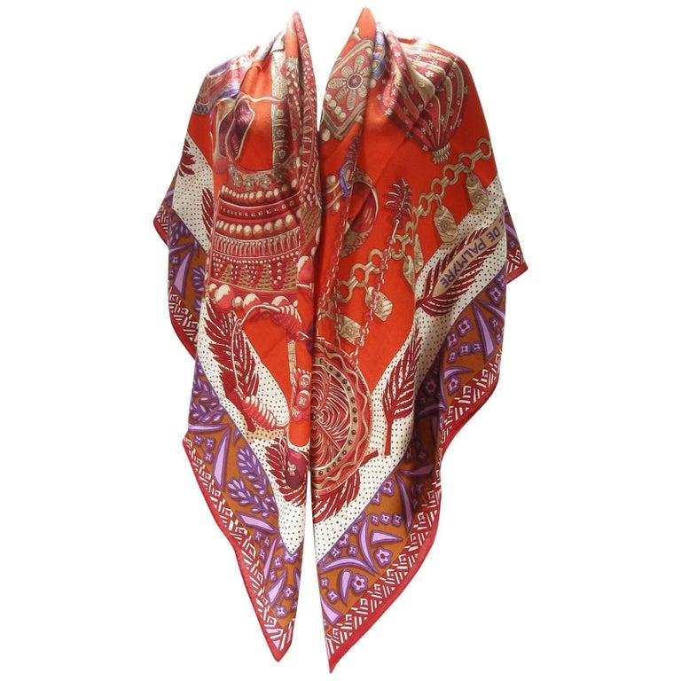 "Hermès 140cm or 55"" GM Shawl Zenobie Reine de Palmyre Cashmere"