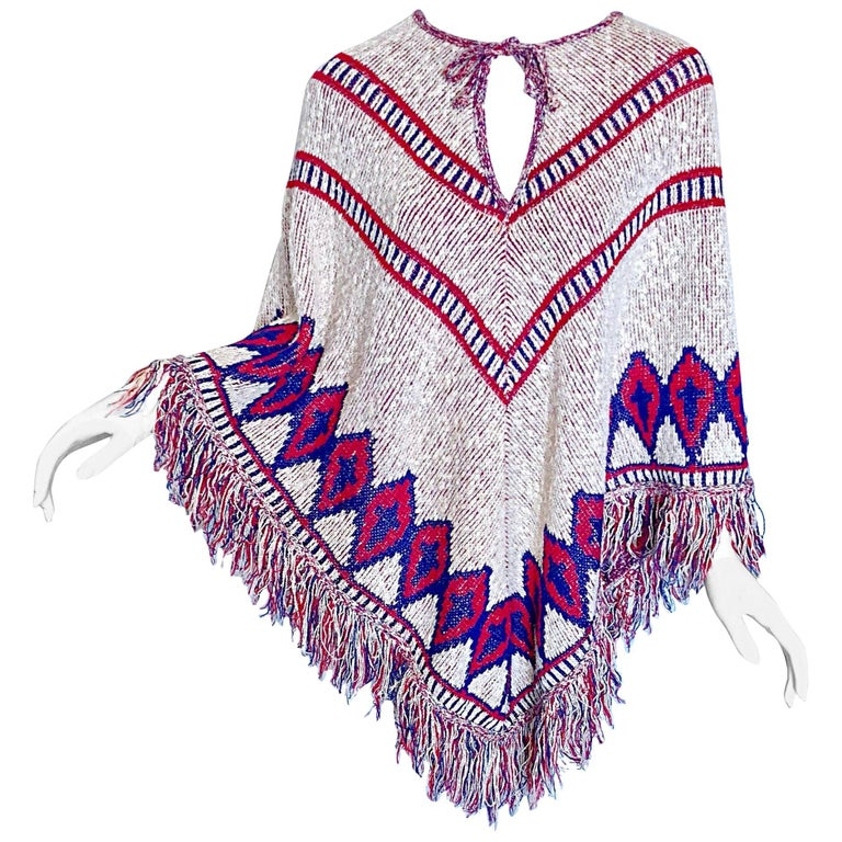 Saks 5th Avenue 1970s Red, White and Blue Navajo Boho Vintage 70s Poncho Cape