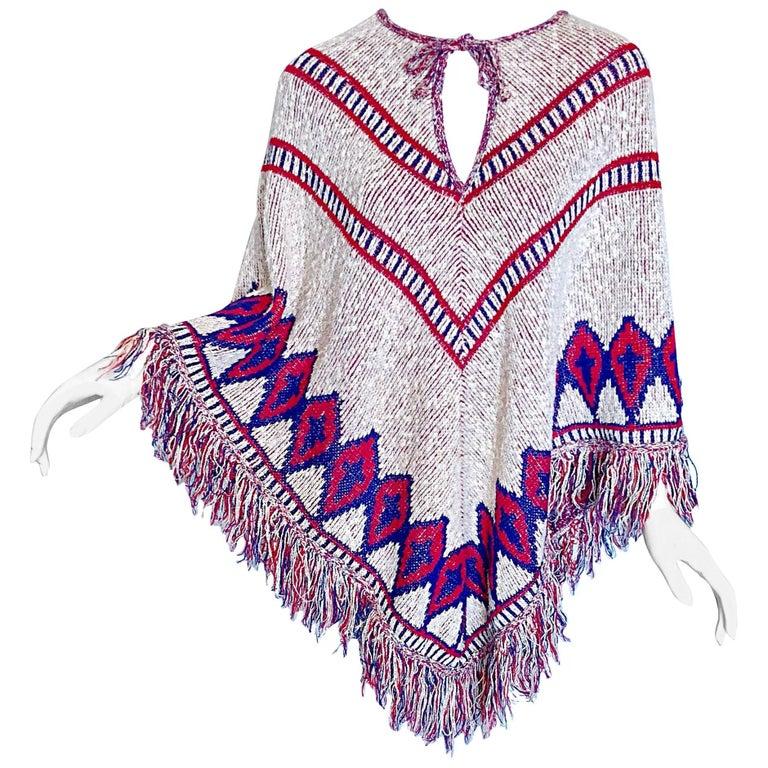 Saks 5th Avenue 1970s Red, White and Blue Navajo Boho Vintage 70s Poncho  Cape