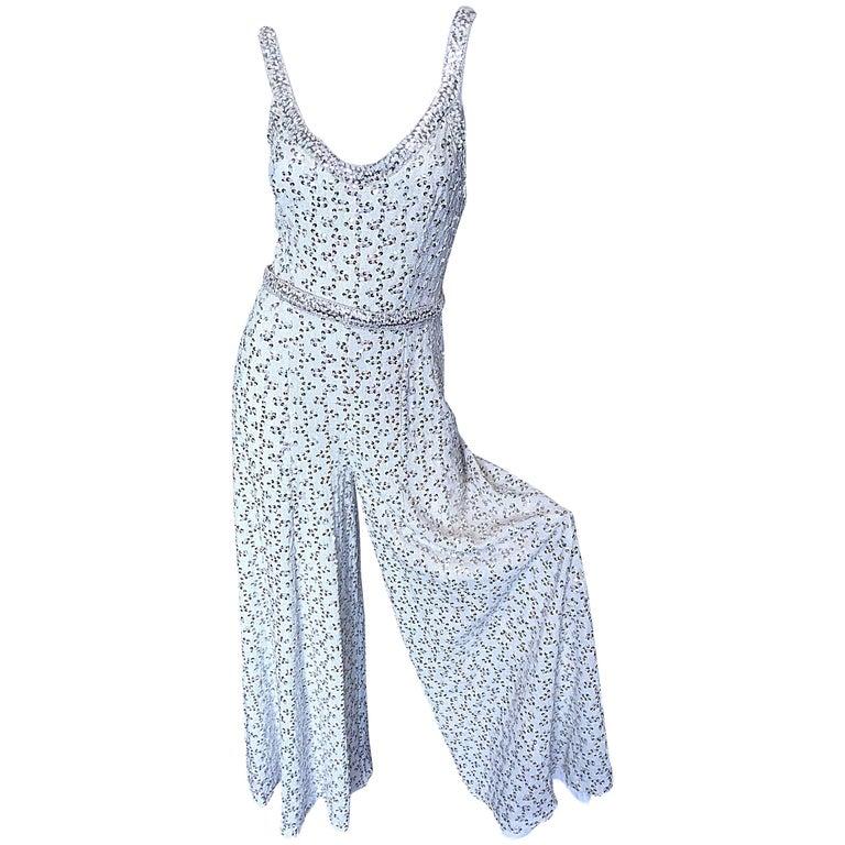 Vintage Lilli Diamond 1970s Silver Sequined 70s Amazing Lurex Wide Leg Jumpsuit For Sale